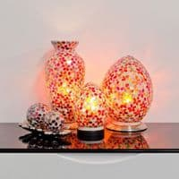 Mosaic Glass Vase Lamp - Red Flower Design